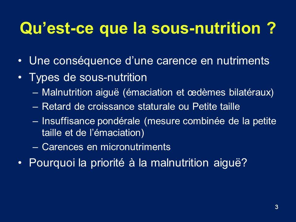 3 Quest-ce que la sous-nutrition ? Une conséquence dune carence en nutriments Types de sous-nutrition –Malnutrition aiguë (émaciation et œdèmes bilaté