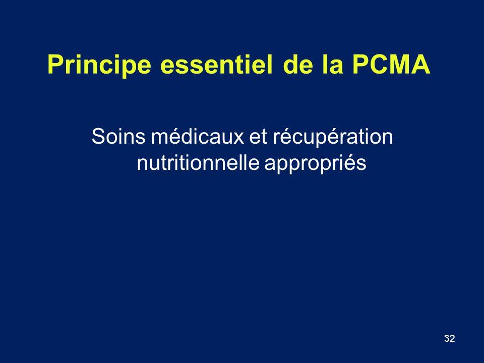 32 Principe essentiel de la PCMA Soins médicaux et récupération nutritionnelle appropriés