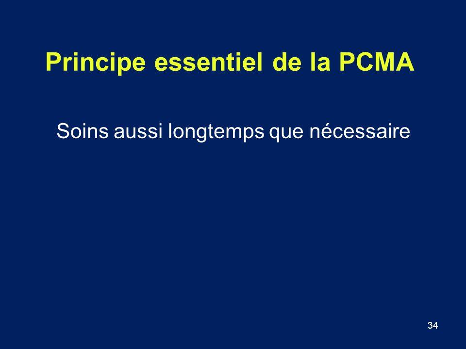 34 Principe essentiel de la PCMA Soins aussi longtemps que nécessaire