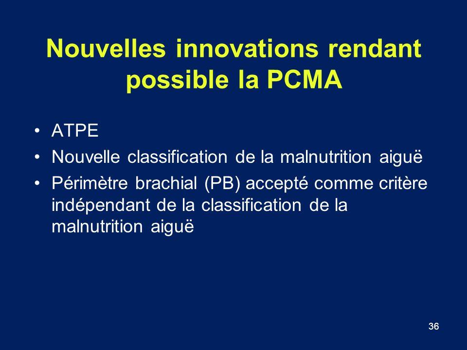 36 Nouvelles innovations rendant possible la PCMA ATPE Nouvelle classification de la malnutrition aiguë Périmètre brachial (PB) accepté comme critère