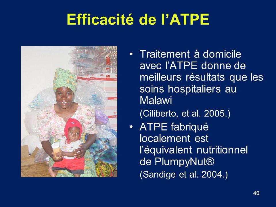 40 Efficacité de lATPE Traitement à domicile avec lATPE donne de meilleurs résultats que les soins hospitaliers au Malawi (Ciliberto, et al. 2005.) AT