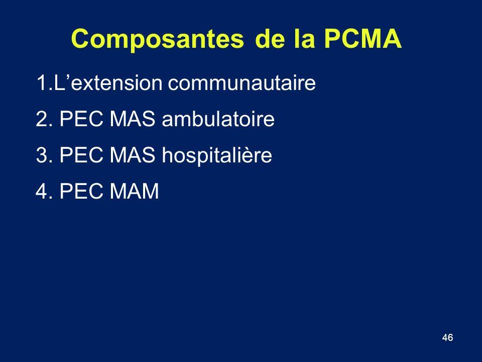 46 Composantes de la PCMA 1.Lextension communautaire 2. PEC MAS ambulatoire 3. PEC MAS hospitalière 4. PEC MAM