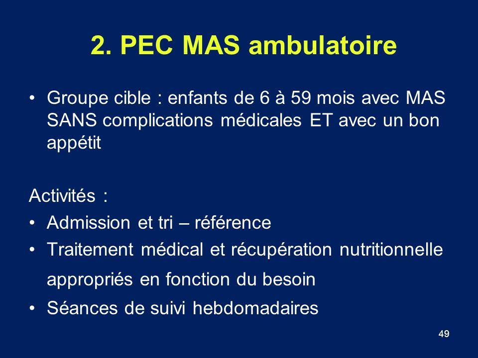 49 2. PEC MAS ambulatoire Groupe cible : enfants de 6 à 59 mois avec MAS SANS complications médicales ET avec un bon appétit Activités : Admission et