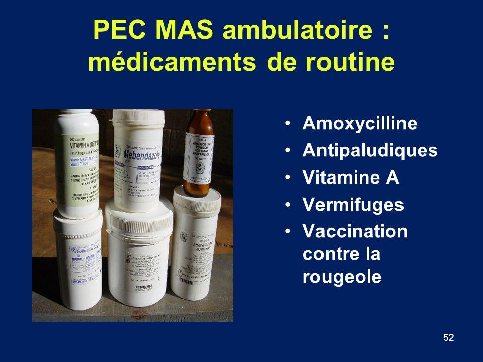 52 PEC MAS ambulatoire : médicaments de routine Amoxycilline Antipaludiques Vitamine A Vermifuges Vaccination contre la rougeole