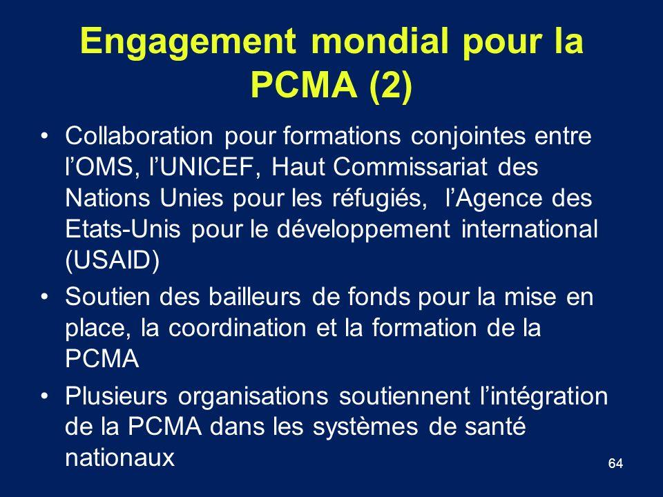 64 Engagement mondial pour la PCMA (2) Collaboration pour formations conjointes entre lOMS, lUNICEF, Haut Commissariat des Nations Unies pour les réfu