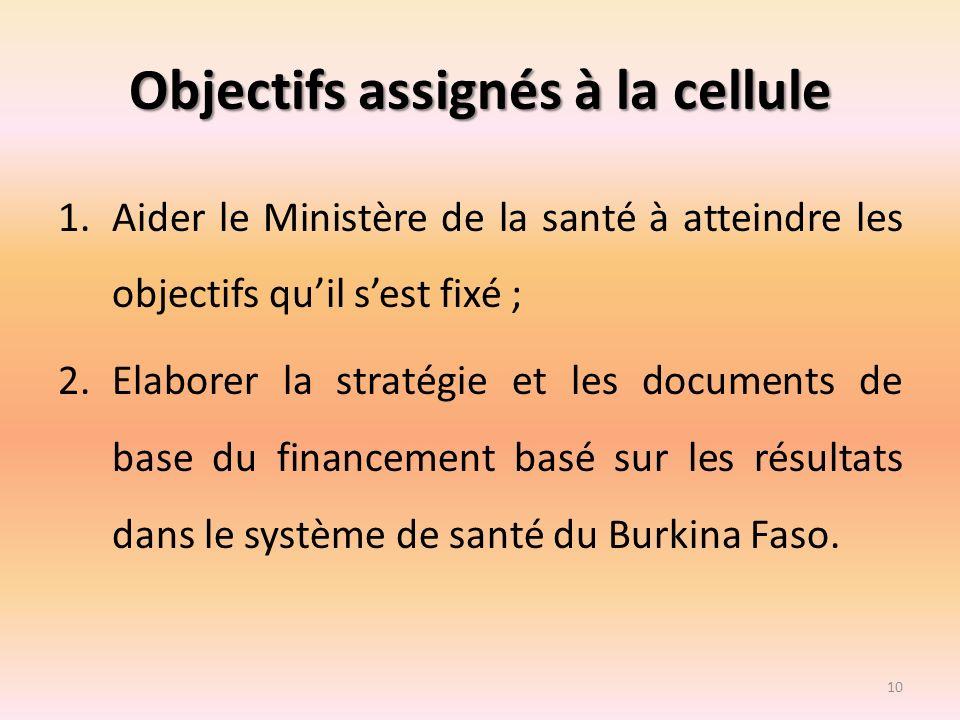 Objectifs assignés à la cellule 1.Aider le Ministère de la santé à atteindre les objectifs quil sest fixé ; 2.Elaborer la stratégie et les documents d