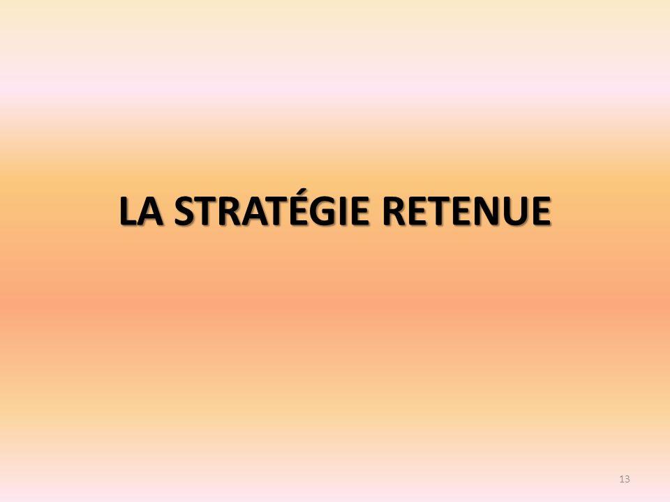 LA STRATÉGIE RETENUE 13