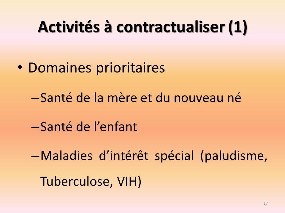 Activités à contractualiser (1) Domaines prioritaires – Santé de la mère et du nouveau né – Santé de lenfant – Maladies dintérêt spécial (paludisme, T