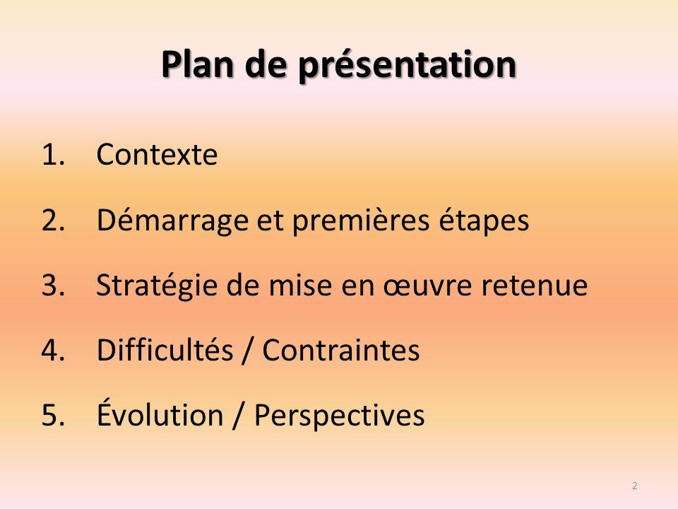 Plan de présentation 1.Contexte 2.Démarrage et premières étapes 3.Stratégie de mise en œuvre retenue 4.Difficultés / Contraintes 5.Évolution / Perspec