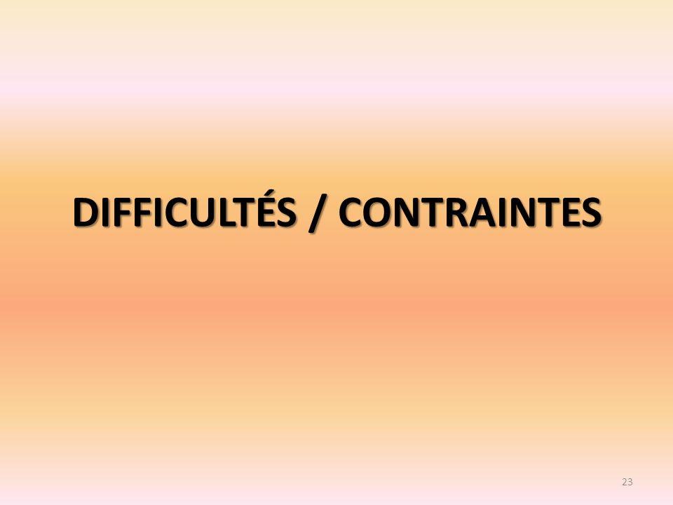 DIFFICULTÉS / CONTRAINTES 23