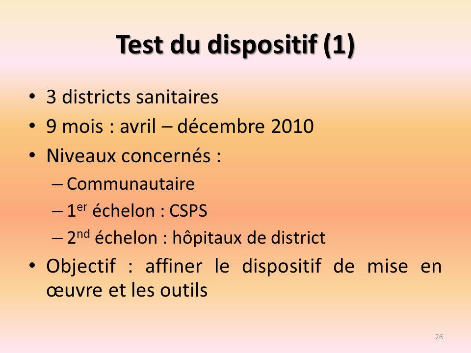 Test du dispositif (1) 3 districts sanitaires 9 mois : avril – décembre 2010 Niveaux concernés : – Communautaire – 1 er échelon : CSPS – 2 nd échelon