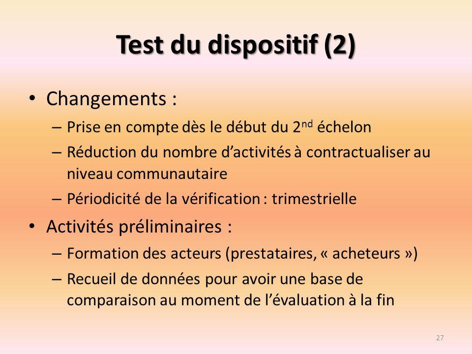 Test du dispositif (2) Changements : – Prise en compte dès le début du 2 nd échelon – Réduction du nombre dactivités à contractualiser au niveau commu