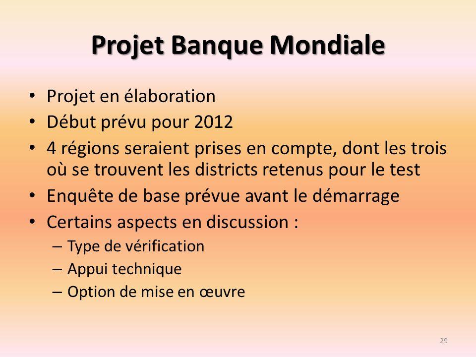 Projet Banque Mondiale Projet en élaboration Début prévu pour 2012 4 régions seraient prises en compte, dont les trois où se trouvent les districts re