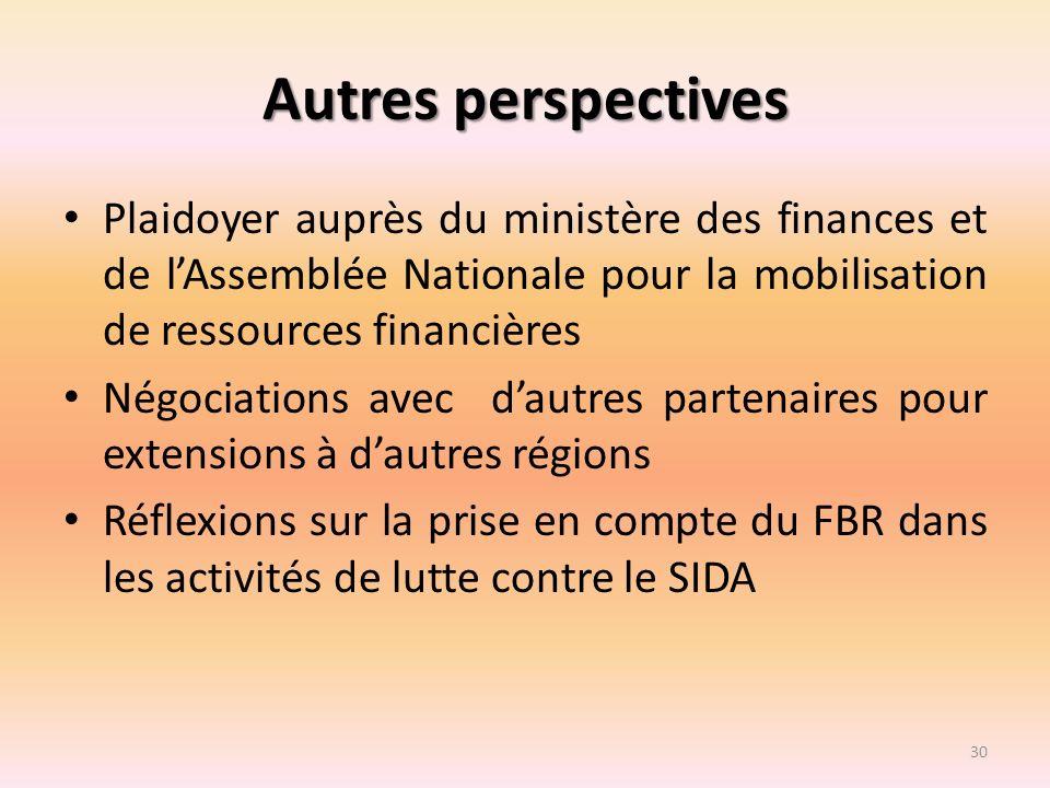 Autres perspectives Plaidoyer auprès du ministère des finances et de lAssemblée Nationale pour la mobilisation de ressources financières Négociations