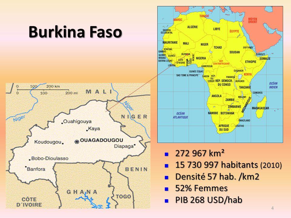 Burkina Faso 272 967 km² 272 967 km² 15 730 997 habitants (2010) 15 730 997 habitants (2010) Densité 57 hab. /km2 Densité 57 hab. /km2 52% Femmes 52%