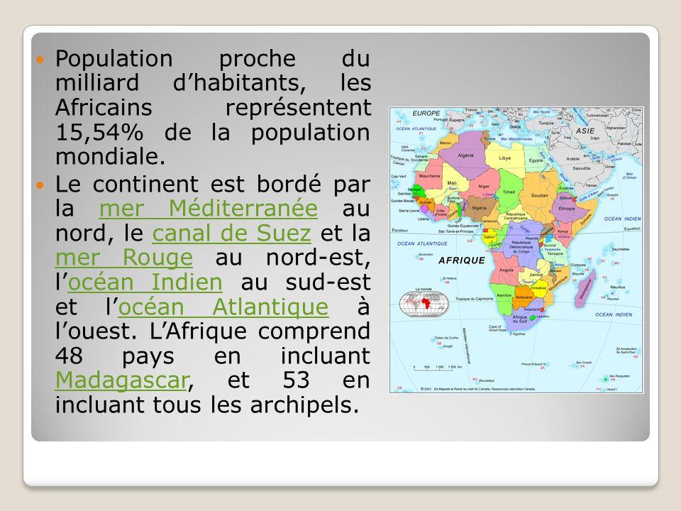 Population proche du milliard dhabitants, les Africains représentent 15,54% de la population mondiale. Le continent est bordé par la mer Méditerranée