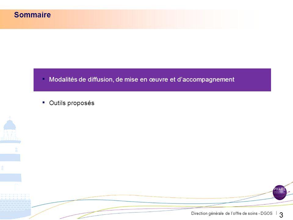 Direction générale de loffre de soins - DGOS | 3 Sommaire Modalités de diffusion, de mise en œuvre et daccompagnement Outils proposés