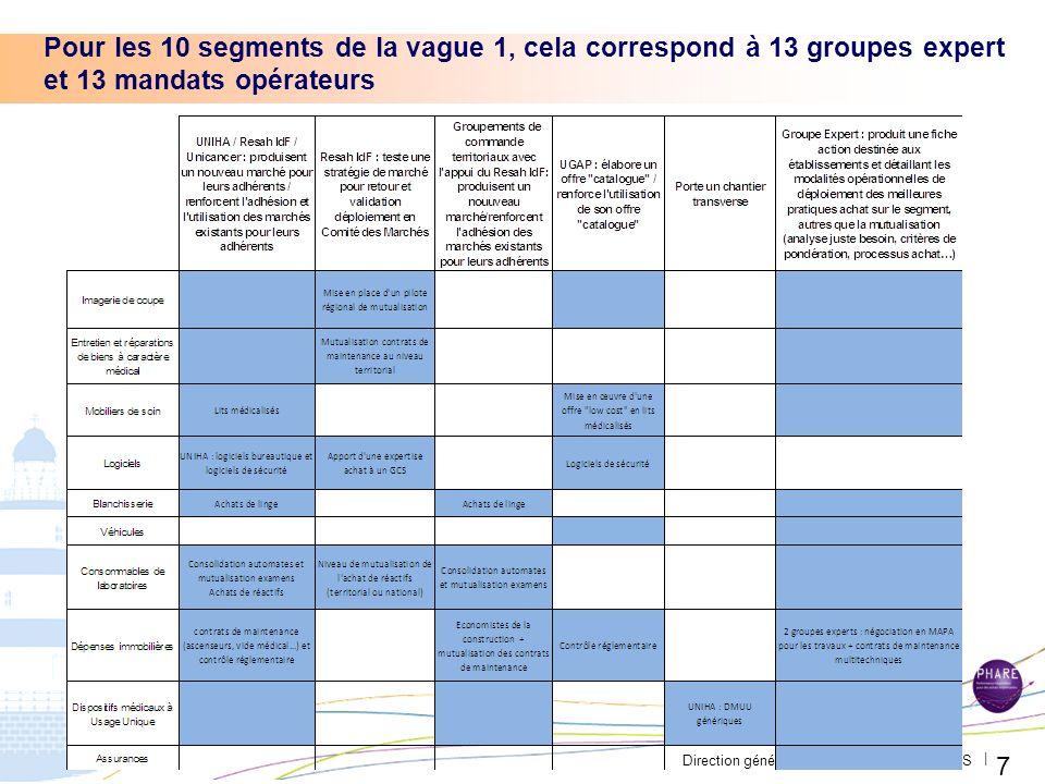 Direction générale de loffre de soins - DGOS | Pour les 10 segments de la vague 1, cela correspond à 13 groupes expert et 13 mandats opérateurs 7