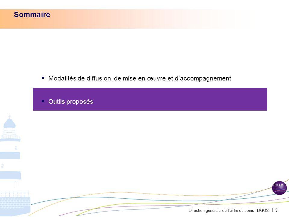 Direction générale de loffre de soins - DGOS | 9 Sommaire Modalités de diffusion, de mise en œuvre et daccompagnement Outils proposés