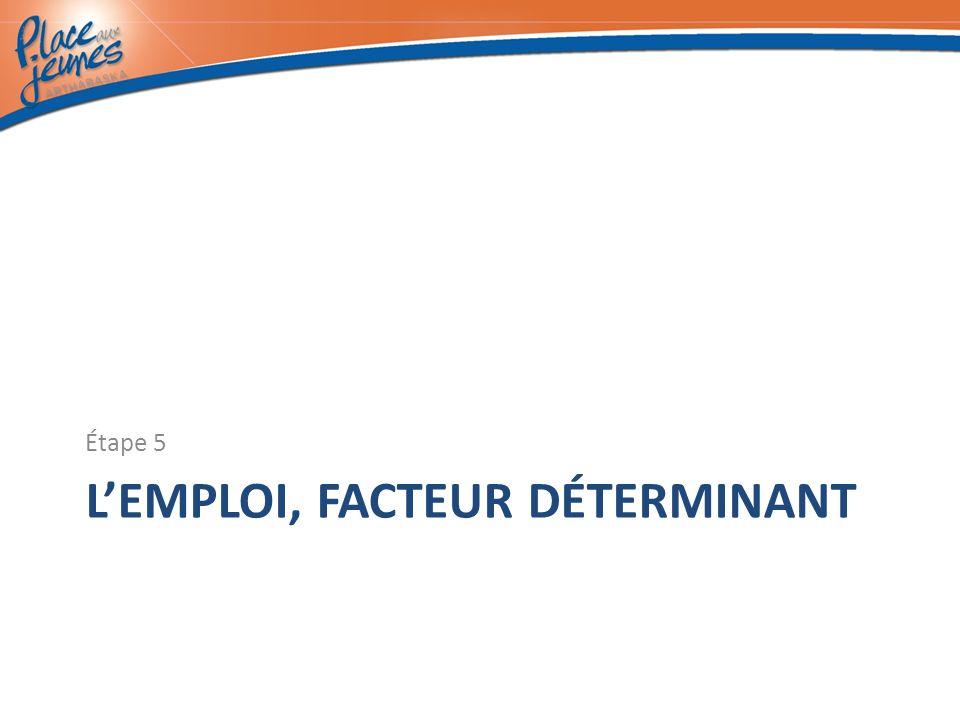 LEMPLOI, FACTEUR DÉTERMINANT Étape 5