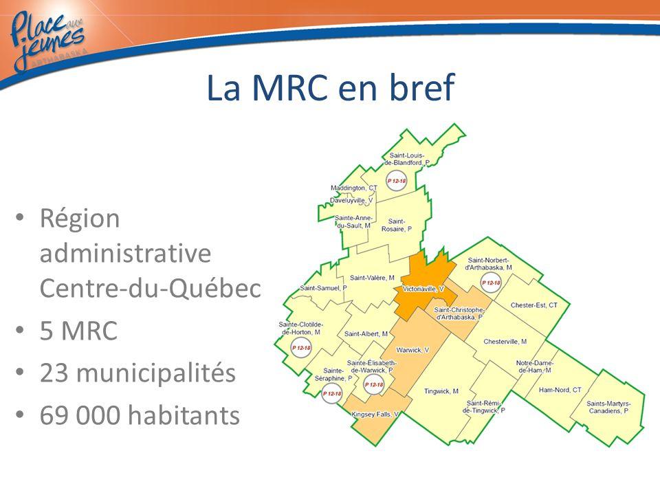 La MRC en bref Région administrative Centre-du-Québec 5 MRC 23 municipalités 69 000 habitants
