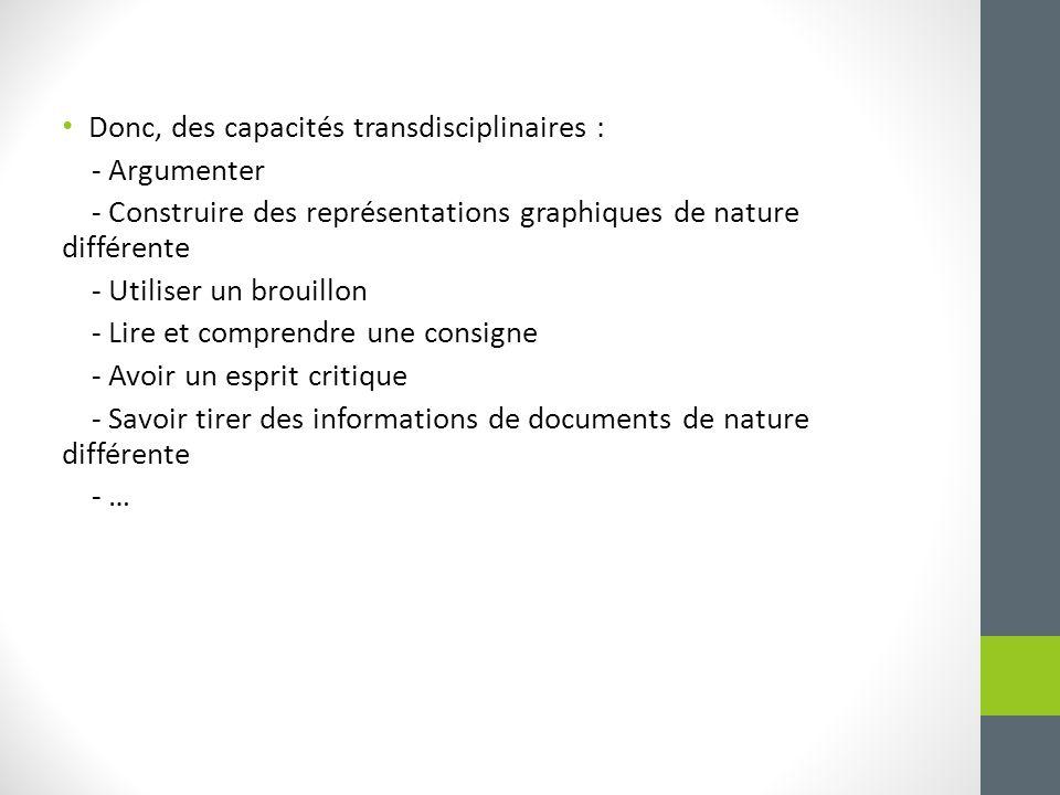 Donc, des capacités transdisciplinaires : - Argumenter - Construire des représentations graphiques de nature différente - Utiliser un brouillon - Lire et comprendre une consigne - Avoir un esprit critique - Savoir tirer des informations de documents de nature différente - …