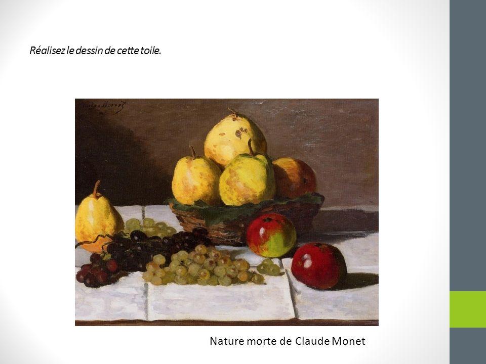 Réalisez le dessin de cette toile. Nature morte de Claude Monet