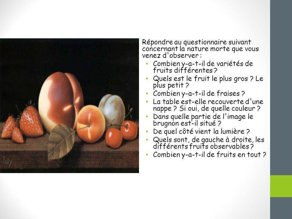 Répondre au questionnaire suivant concernant la nature morte que vous venez d observer : Combien y-a-t-il de variétés de fruits différentes .