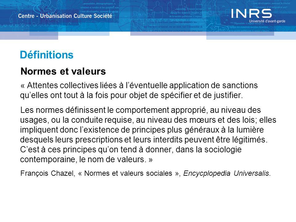 Définitions Normes et valeurs « Attentes collectives liées à léventuelle application de sanctions quelles ont tout à la fois pour objet de spécifier e