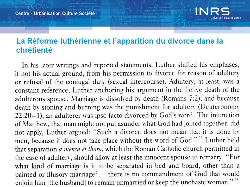 La Réforme luthérienne et lapparition du divorce dans la chrétienté