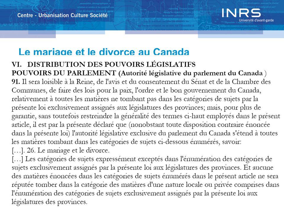 Le mariage et le divorce au Canada
