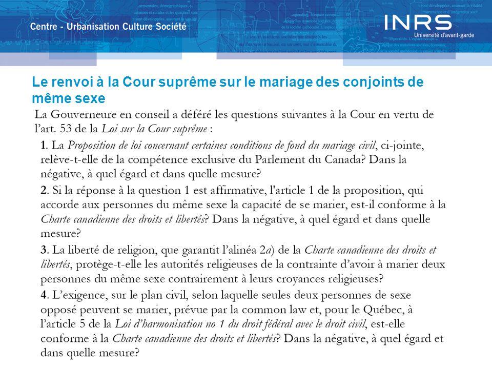 Le renvoi à la Cour suprême sur le mariage des conjoints de même sexe