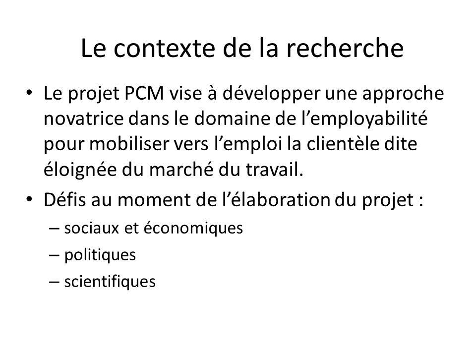 Le contexte de la recherche Le projet PCM vise à développer une approche novatrice dans le domaine de lemployabilité pour mobiliser vers lemploi la clientèle dite éloignée du marché du travail.