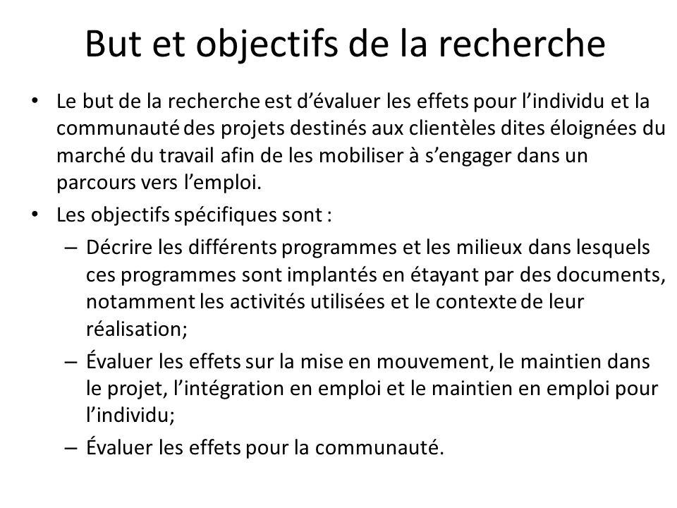 But et objectifs de la recherche Le but de la recherche est dévaluer les effets pour lindividu et la communauté des projets destinés aux clientèles dites éloignées du marché du travail afin de les mobiliser à sengager dans un parcours vers lemploi.