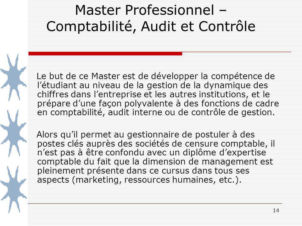 14 Master Professionnel – Comptabilité, Audit et Contrôle Le but de ce Master est de développer la compétence de létudiant au niveau de la gestion de