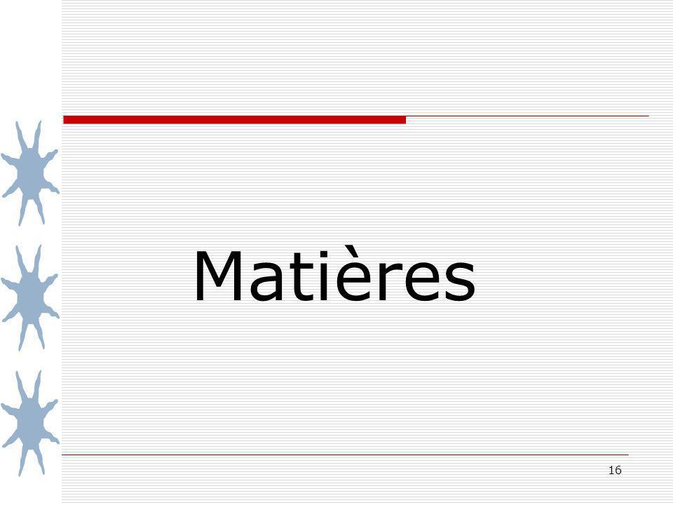 16 Matières