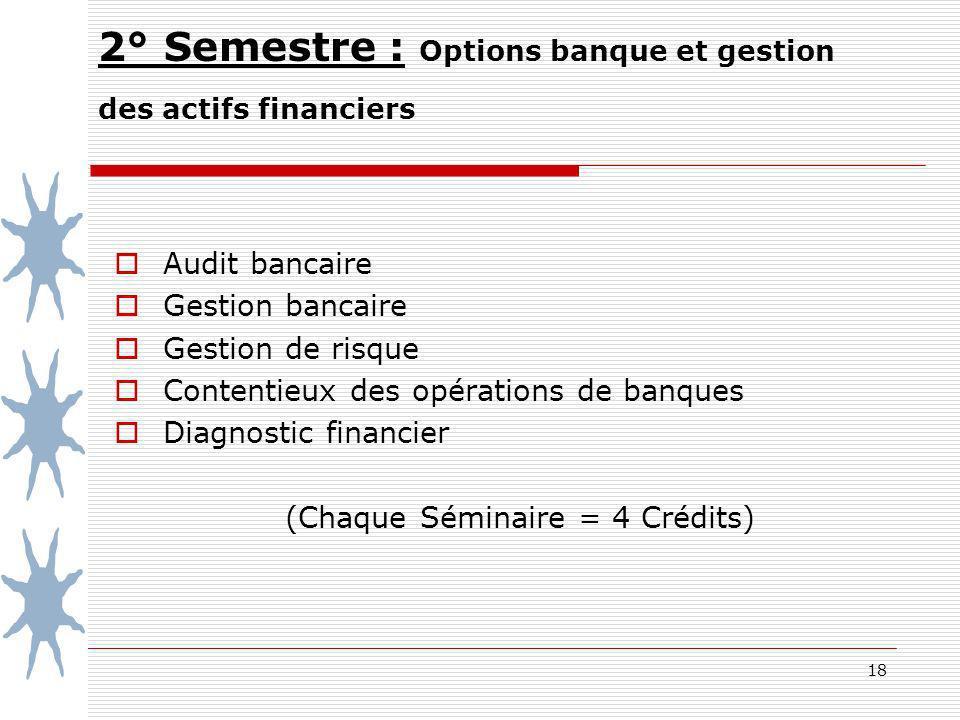 18 2° Semestre : Options banque et gestion des actifs financiers Audit bancaire Gestion bancaire Gestion de risque Contentieux des opérations de banqu
