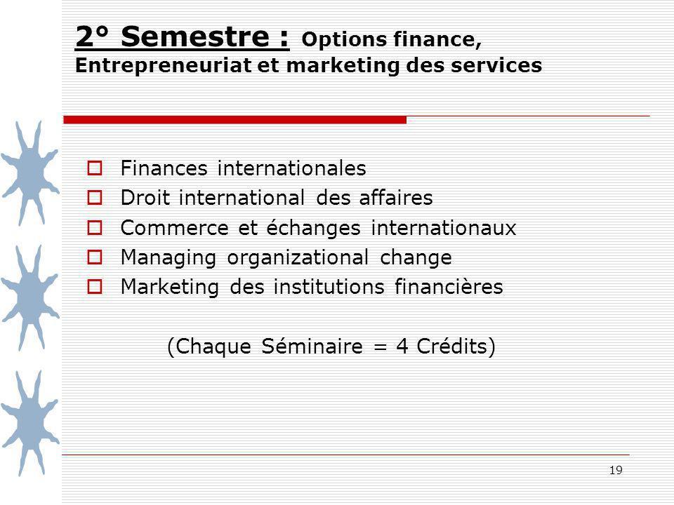 19 2° Semestre : Options finance, Entrepreneuriat et marketing des services Finances internationales Droit international des affaires Commerce et écha