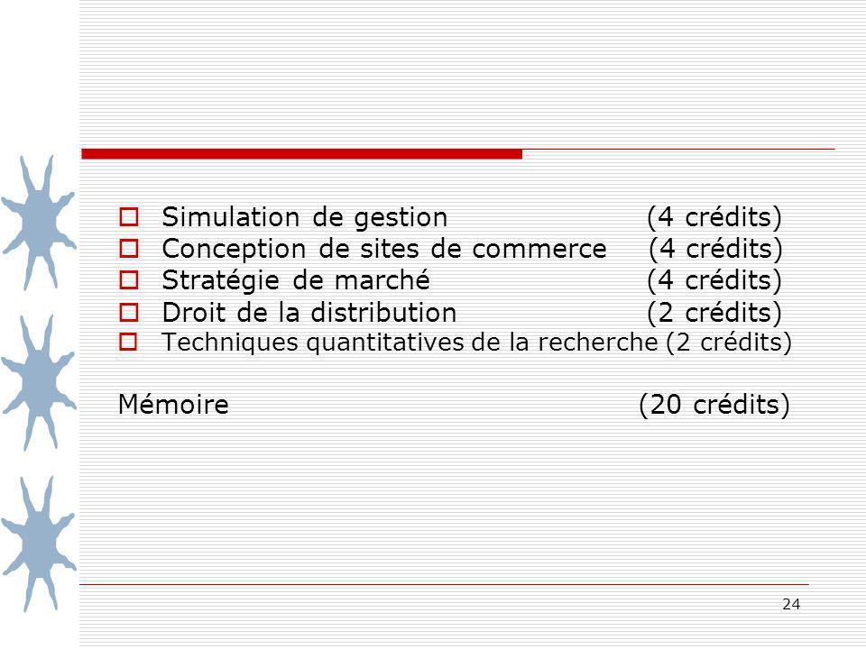 24 Simulation de gestion (4 crédits) Conception de sites de commerce (4 crédits) Stratégie de marché (4 crédits) Droit de la distribution (2 crédits) Techniques quantitatives de la recherche (2 crédits) Mémoire (20 crédits)