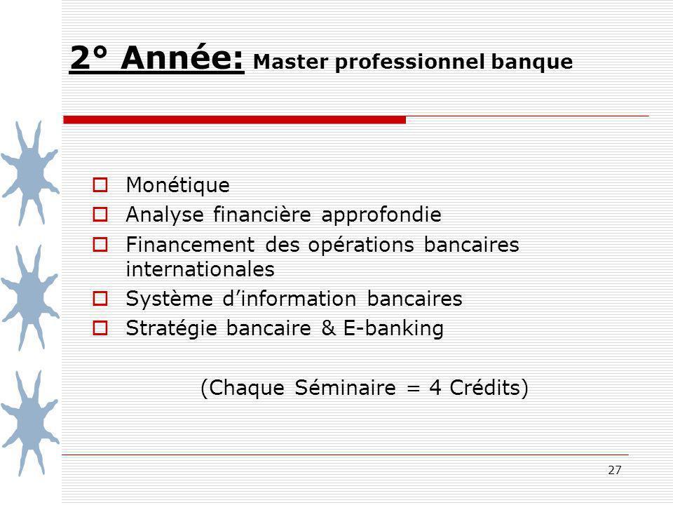 27 2° Année: Master professionnel banque Monétique Analyse financière approfondie Financement des opérations bancaires internationales Système dinformation bancaires Stratégiebancaire & E-banking (Chaque Séminaire = 4 Crédits)