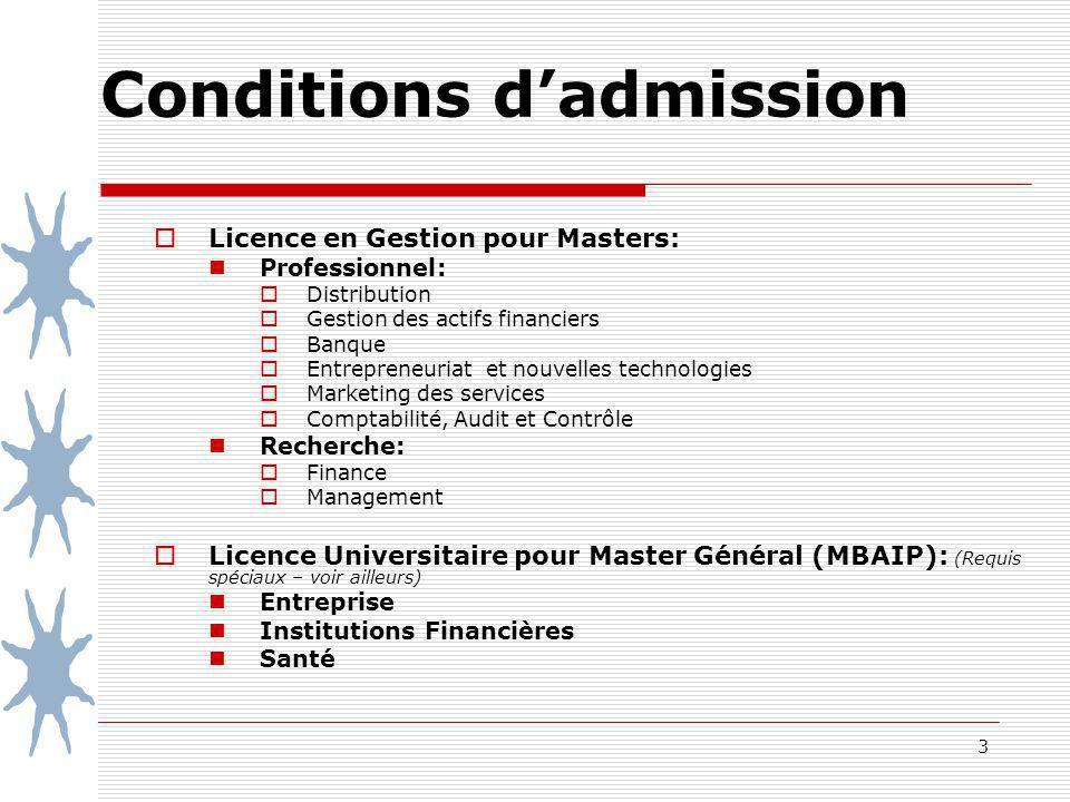 3 Conditions dadmission Licence en Gestion pour Masters: Professionnel: Distribution Gestion des actifs financiers Banque Entrepreneuriat et nouvelles