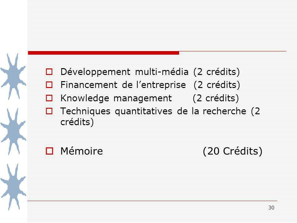 30 Développement multi-média (2 crédits) Financement de lentreprise (2 crédits) Knowledge management (2 crédits) Techniques quantitatives de la recherche (2 crédits) Mémoire (20 Crédits)