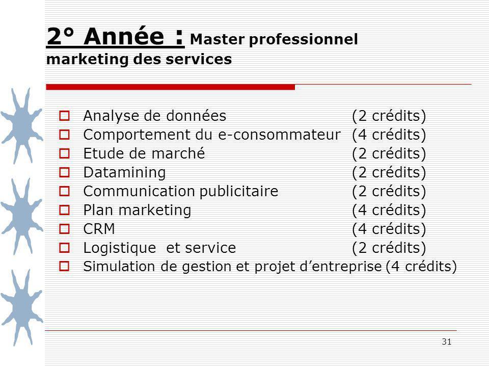 31 2° Année : Master professionnel marketing des services Analyse de données (2 crédits) Comportement du e-consommateur(4 crédits) Etude de marché (2 crédits) Datamining (2 crédits) Communication publicitaire (2 crédits) Plan marketing (4 crédits) CRM (4 crédits) Logistique et service (2 crédits) Simulation de gestion et projet dentreprise (4 crédits)