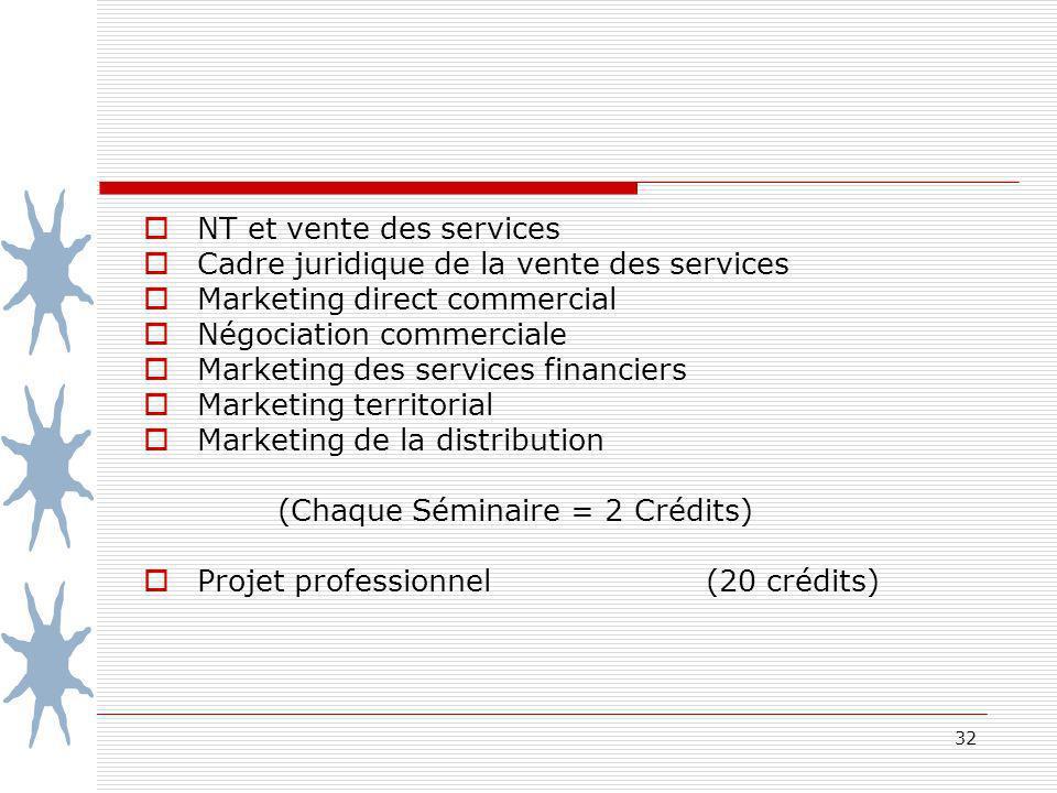 32 NT et vente des services Cadre juridique de la vente des services Marketing direct commercial Négociation commerciale Marketing des services financ