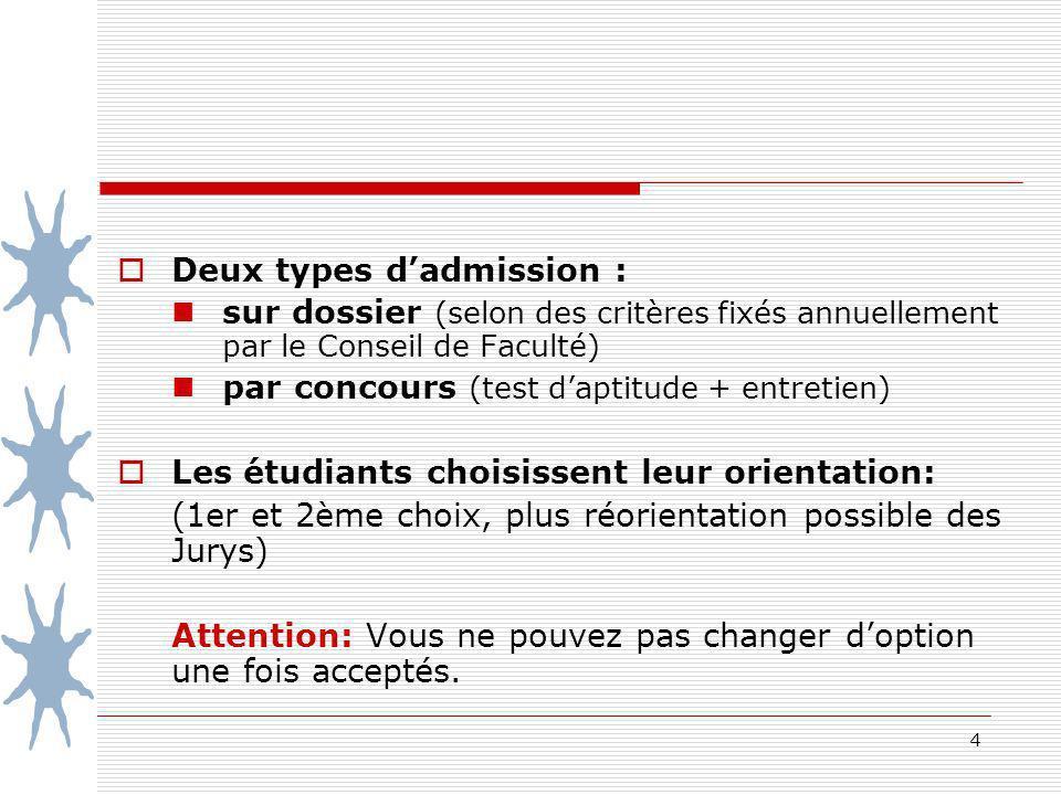 4 Deux types dadmission : sur dossier (selon des critères fixés annuellement par le Conseil de Faculté) par concours (test daptitude + entretien) Les