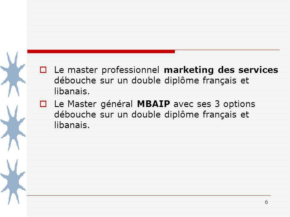 6 Le master professionnel marketing des services débouche sur un double diplôme français et libanais. Le Master général MBAIP avec ses 3 options débou