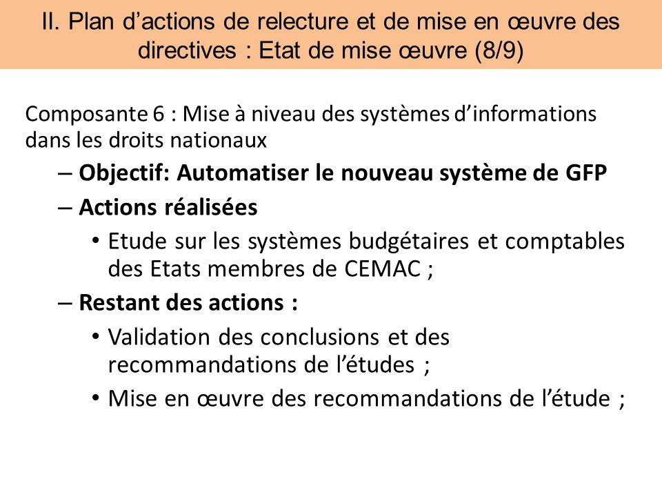 II. Plan dactions de relecture et de mise en œuvre des directives : Etat de mise œuvre (8/9) Composante 6 : Mise à niveau des systèmes dinformations d