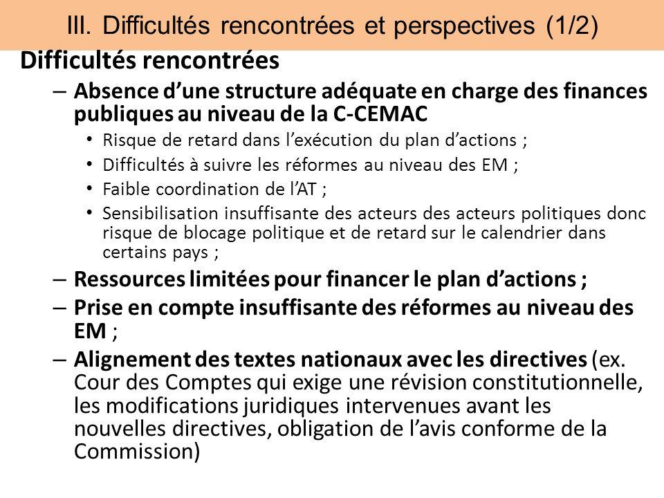 III. Difficultés rencontrées et perspectives (1/2) Difficultés rencontrées – Absence dune structure adéquate en charge des finances publiques au nivea