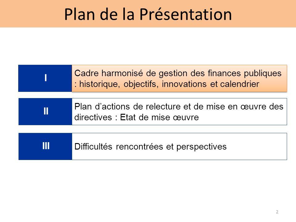 Plan de la Présentation 2 I Cadre harmonisé de gestion des finances publiques : historique, objectifs, innovations et calendrier II III Plan dactions de relecture et de mise en œuvre des directives : Etat de mise œuvre Difficultés rencontrées et perspectives