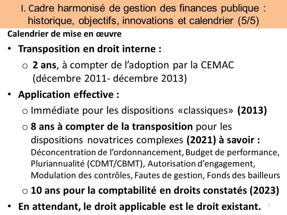 I. C adre harmonisé de gestion des finances publique : historique, objectifs, innovations et calendrier (5/5) 7 Calendrier de mise en œuvre Transposit